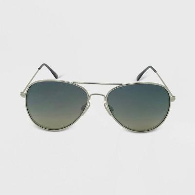 Women's Aviator Metal Silhouette Sunglasses - Wild Fable™ Silver
