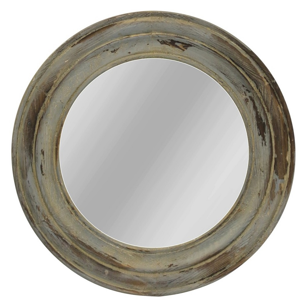 23.4 Distressed Round Firwood Antique Finish Wall Mirror - StyleCraft, Multi-Colored