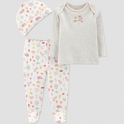 Baby Girls' 3pc Floral Footed Set - Little Planet by Carter's Chai 3M