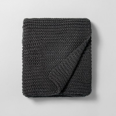 Chunky Knit Throw Blanket Railroad Gray - Hearth & Hand™ with Magnolia
