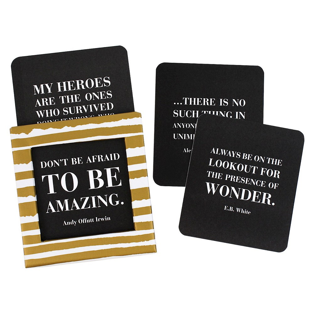 Inspirational Quotes Blank Cards (115ct), Black/White/Gold