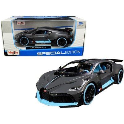"""Bugatti Divo Satin Charcoal Gray with Carbon and Blue Accents """"Special Edition"""" 1/24 Diecast Model Car by Maisto"""