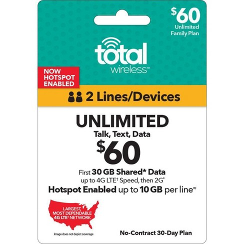 Total Wireless Unlimited Talk/Text plus Data Shared Plan (Email Delivery) - image 1 of 1