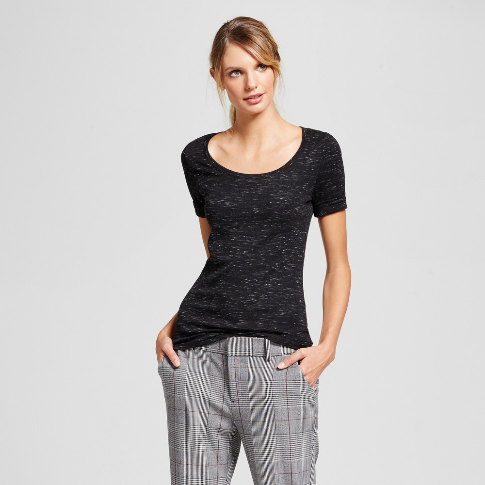 Women S Heathered Fitted Elbow T Shirt A New Day 8482 Black Xxl