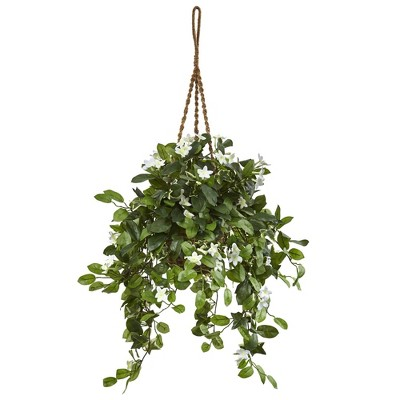 """44"""" x 23"""" Artificial Stephanotis Flowering Plant in Hanging Basket Green - Nearly Natural"""