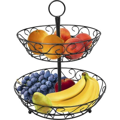 Sorbus 2 Tier Countertop Fruit Basket Holder and Decorative Bowl Stand Black