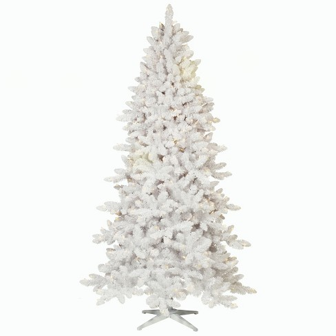 7ft prelit artificial christmas tree flocked white alberta spruce clear lights wondershop - 7ft Artificial Christmas Tree