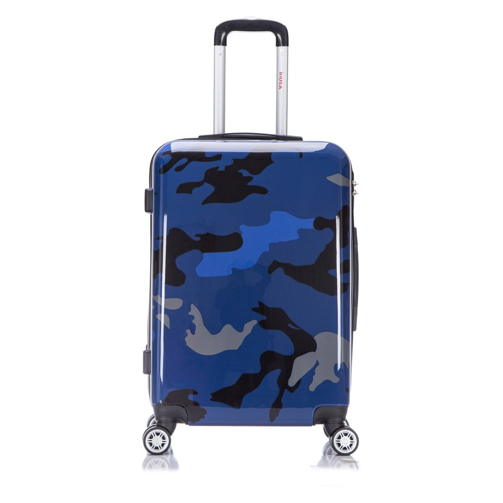 InUSA Prints 24 Hardside Spinner Suitcase - Blue Camouflage, Airforce Blue