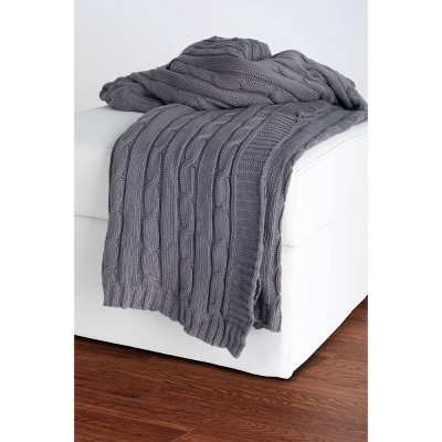 """50""""x60"""" Cable Knit Throw Blanket Light Gray - Rizzy Home"""