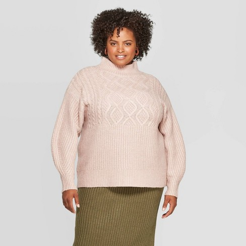Women's Plus Size Long Sleeve Cable Turtleneck Sweater - A New Day™ - image 1 of 3
