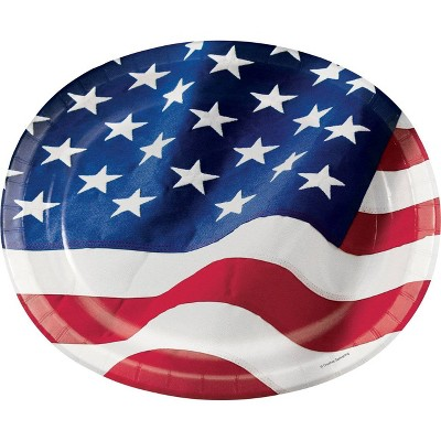 24ct Patriotic Flag Disposable Oval Plates