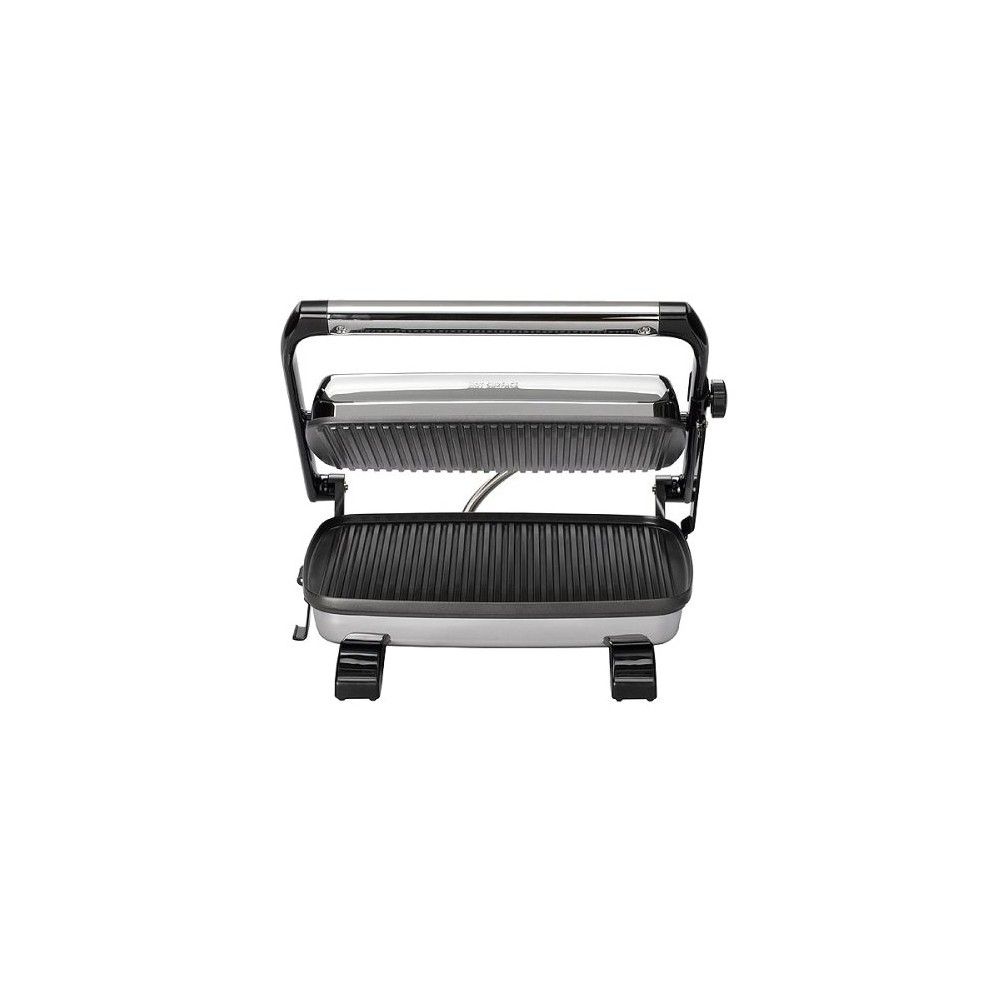 Hamilton Beach Panini Press Sandwich Maker - 25450, Silver Make your favorite panini sandwiches at home with the Hamilton Beach 25460 panini maker. All you have to do is layer several slices of bread with your choice of ingredients and grill up tasty sandwiches. Simply lock the top lid of this grilled sandwich maker when you cook bruschetta or pizza. Its grills have a non-stick coating to make cleaning a snap. The Hamilton Beach panini press sandwich maker has an upright design, so you can easily store it in your kitchen cabinet when not in use. It has power and pre-heat indicator lights. The polished chrome finish makes this small kitchen appliance a stylish addition to any modern countertop. Color: Stainless Steel.