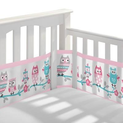BreathableBaby Mesh Crib Liner - Owl Fun Pink