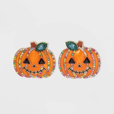 SUGARFIX by BaubleBar Crystal Jack Lantern Stud Earrings - Orange