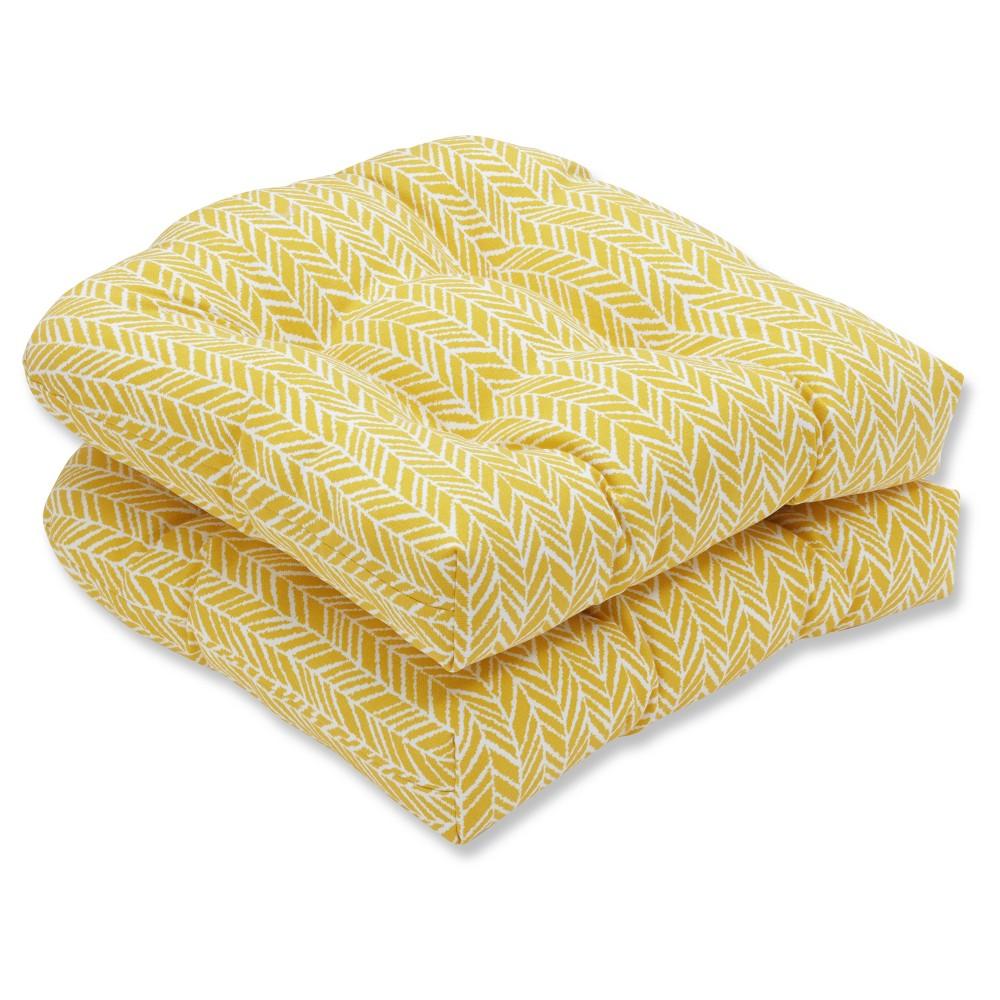 Outdoor/Indoor Herringbone Yellow Wicker Seat Cushion Set of 2 - Pillow Perfect