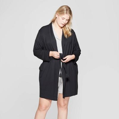 Women's Plus Size Beautifully Soft Robe - Stars Above™ Black 1X-2X