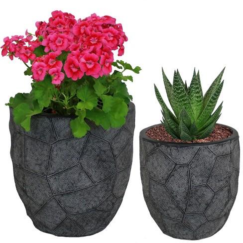 "2pc Homestead Fiber Clay Planter Set - 9"" and 12"" - Dark Gray - Sunnydaze Decor - image 1 of 4"