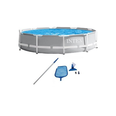 Intex 26701EH 10ft x 30in Prism Metal Frame Above Ground Swimming Pool with Filter Pump and Cleaning Maintenance Kit with Vacuum, Skimmer and Pole