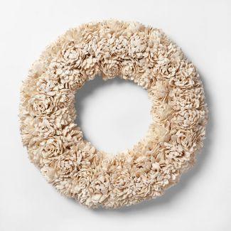 21.2u0022 Dried Sola Wood Flower Wreath White - Smith & Hawken™