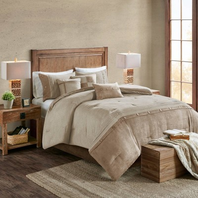 Powell King 7pc Faux Suede Comforter Set Tan
