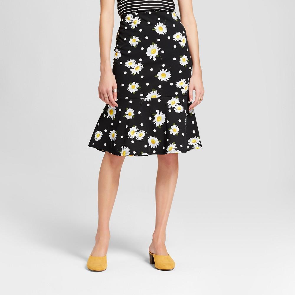Women's Floral Print Fit & Flare Skirt - Alison Andrews Black XL