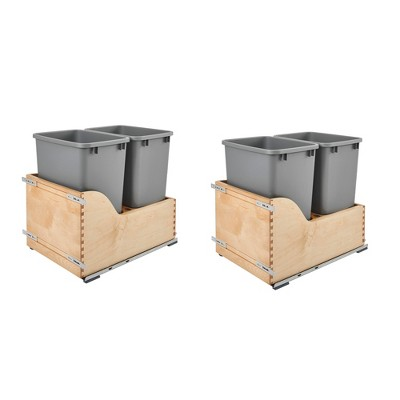 Rev-A-Shelf 4WCSC-1835DM-2 Double 35-Qt Maple Bottom Mount Kitchen Pullout Waste Container Trash Can with Blumotion Soft-Close Slides, Silver (2 Pack)