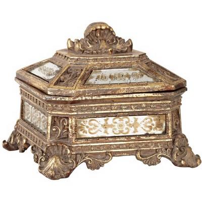 "Kensington Hill Florentine 5 3/4"" Wide Antique Gold Mirrored Jewelry Box"