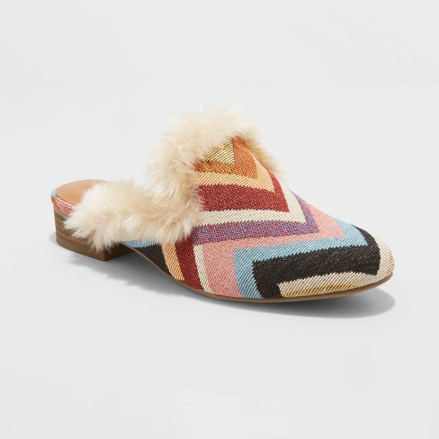 Women's Bibiana Faux Fur Lined Mules - Universal Thread™ White - image 1 of 3