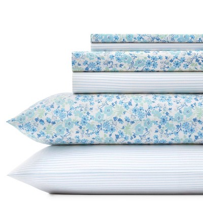 6pc Printed Pattern Percale Cotton Sheet Set - Laura Ashley