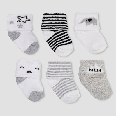 Baby Boys' 6pk Folded Cuff Alt Terry Socks - Just One You® made by carter's Gray 0-3M
