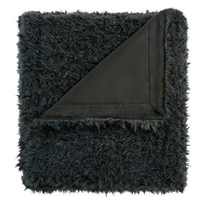 Black Zoe Mohair Throw Blankets 50 x60