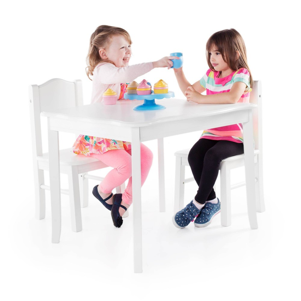 Image of 3 Piece Kids Table and Chairs Set - White - Guidecraft, Brown