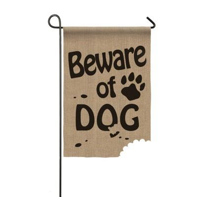 Evergreen Garden Burlap Beware of Dog Flag