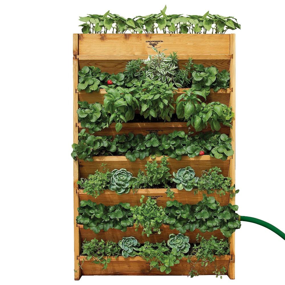 Vertical Rectangular Garden - Assembled - Unfinished - Gronomics, Brown