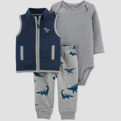 Baby Boys' Dino Vest Short Sleeve Top & Bottom Set - Just One You® made by carter's Gray 18M
