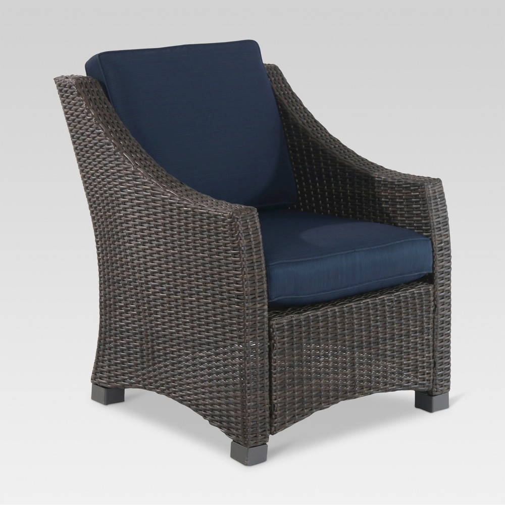 Fantastic Belvedere Wicker Patio Club Chair Navy Blue Threshold Onthecornerstone Fun Painted Chair Ideas Images Onthecornerstoneorg