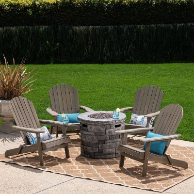 Maison 5pc Acacia Wood and Light Weight Concrete Adirondack Chair and Fire Pit Set - Christopher Knight Home