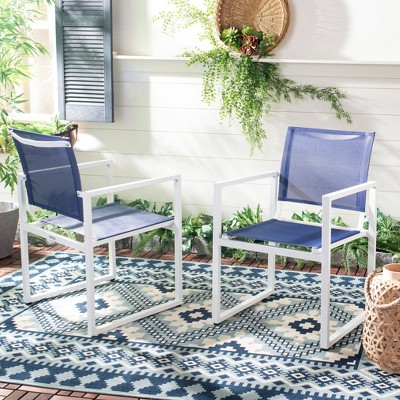 Neval Stackable Chair - Navy/White - Safavieh
