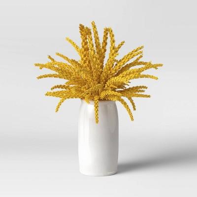 "16.5"" x 10"" Artificial Goldenrod Plant Arrangement in Ceramic Pot Yellow - Threshold™"