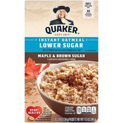 Quaker Lower Sugar Instant Oatmeal Maple & Brown Sugar - 10ct