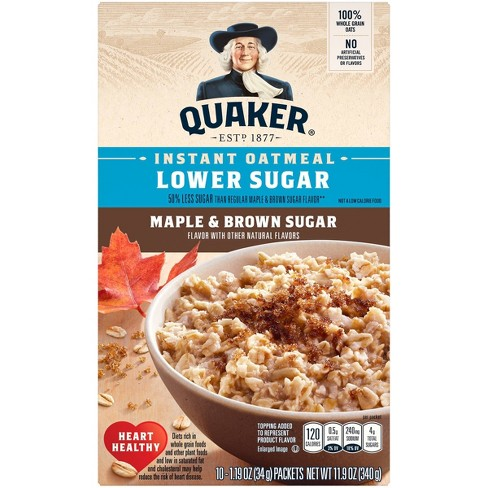 Quaker Lower Sugar Instant Oatmeal Maple & Brown Sugar - 10ct - image 1 of 4