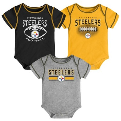 NFL Pittsburgh Steelers Baby Boys' Bodysuit Set 3pk - 3-6M