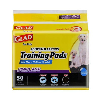 Glad Jumbo Activated Carbon Dog Training Pads - 50ct