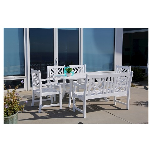 Vifah Bradley Eco-friendly 6-Piece Outdoor White Dining Set with Rectangle Table, 4' Bench and Arm Chairs - White - image 1 of 1