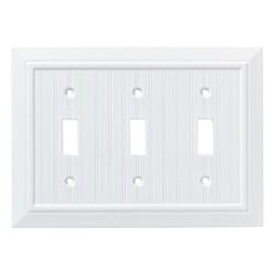 Franklin Brass Classic Beadboard Triple Switch Wall Plate White
