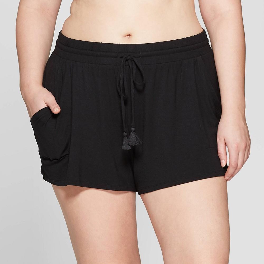 Women's Plus Size Beautifully Soft Pajama Shorts - Stars Above Black 3X