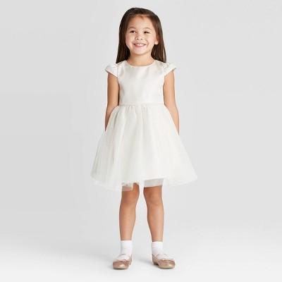 Zenzi Toddler Girls' Flower Girl with Shine Puff Sleeve Dress - Off-White