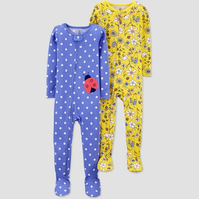 Toddler Girls' 2pk Lady Bug/Floral Footed Pajama - Just One You® made by carter's Blue