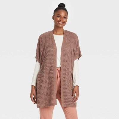 Women's Knit Ruana Kimono Jacket - Universal Thread™ Clay
