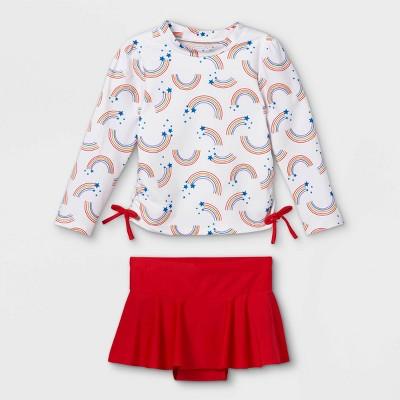 Toddler Girls' Rainbow Long Sleeve Rash Guard Set - Cat & Jack™ 2T